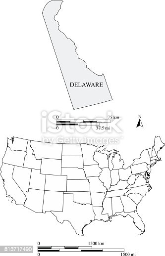 Delaware State Of Us Map Vector Outline Illustration With Scales - Us map delaware state