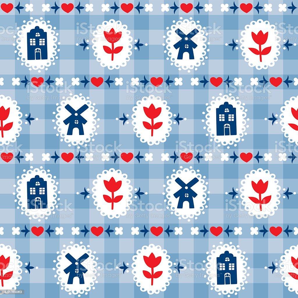 Delft blue pattern swatch vector art illustration