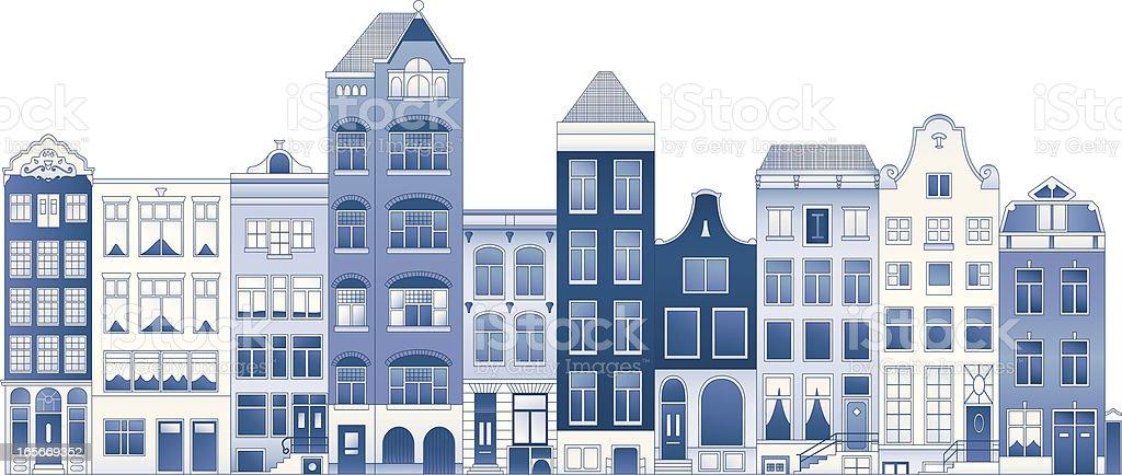 Delft blue row houses vector art illustration