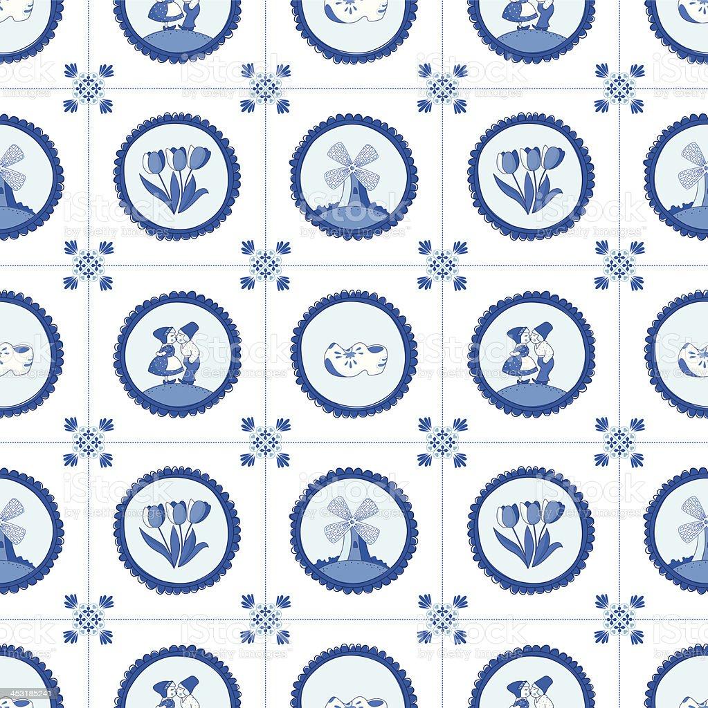 Delft blue seamless pattern. vector art illustration