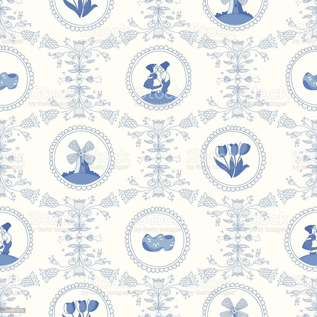 Delft blue seamless pattern vector art illustration