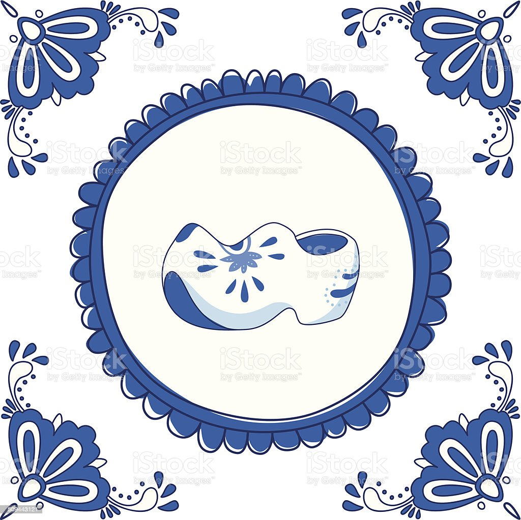 Delft blue tile with a pair of clogs vector art illustration