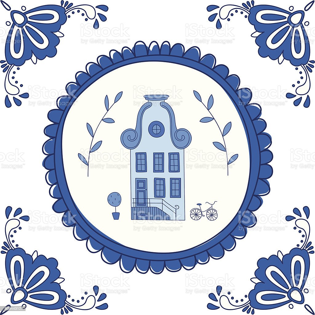 Delft blue tile with a typical Dutch house vector art illustration