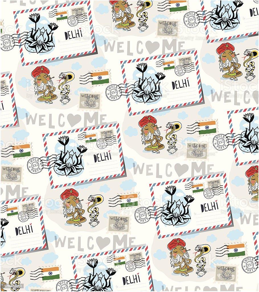 Delhi postcard. vector pattern royalty-free stock vector art