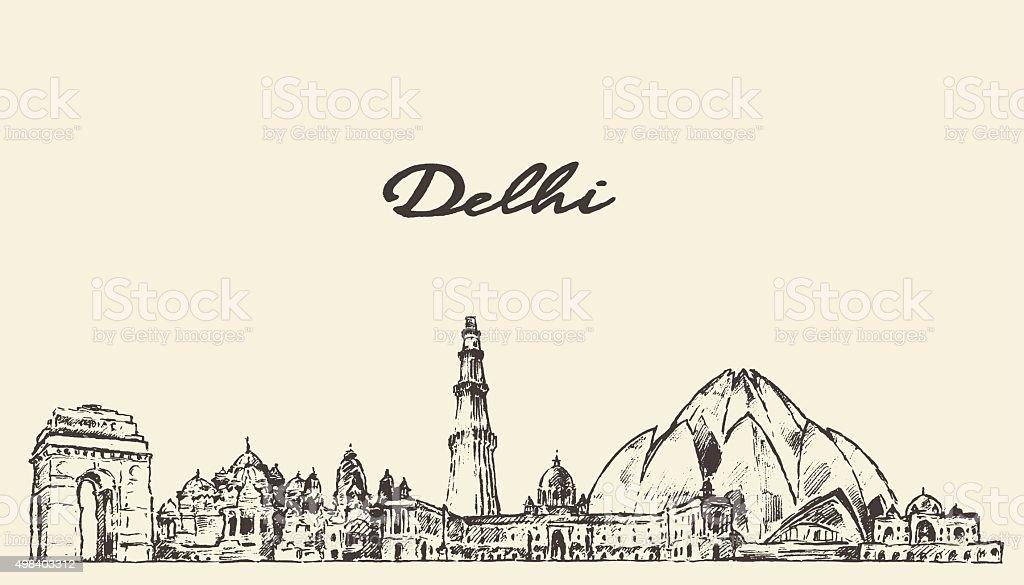 Delhi skyline vector illustration hand drawn vector art illustration