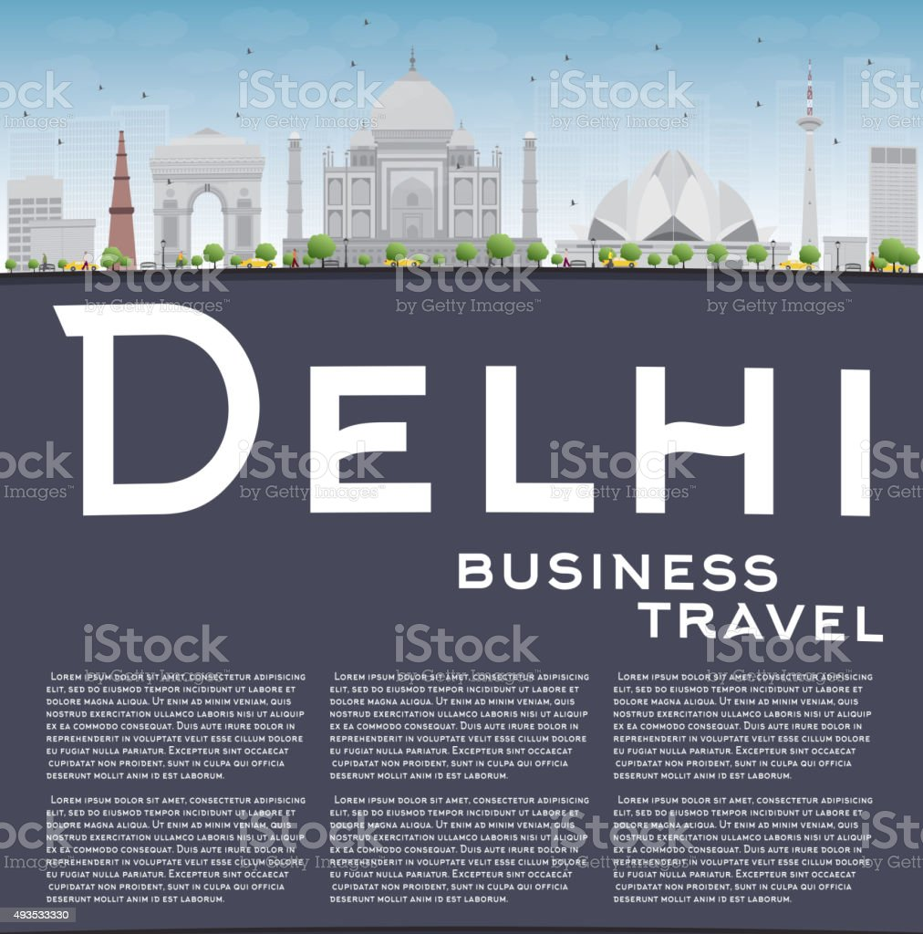 Delhi skyline with gray landmarks and copy space vector art illustration