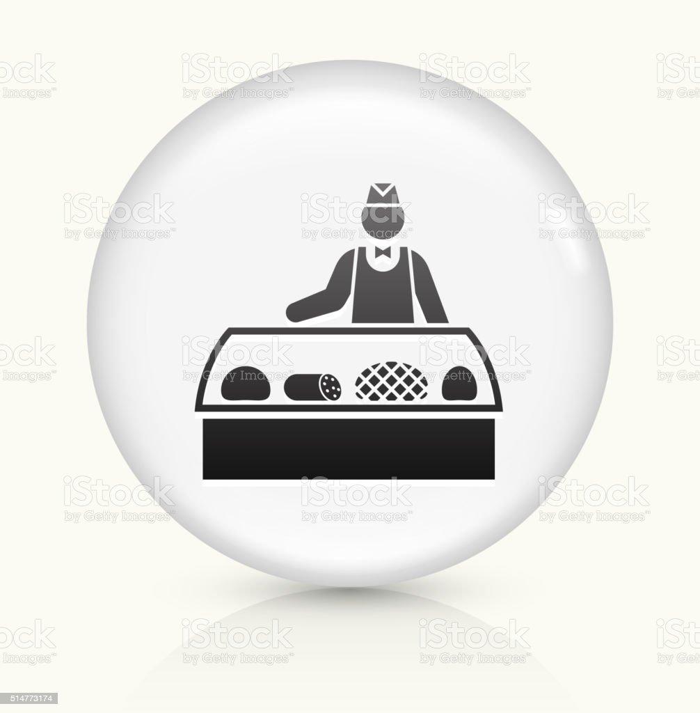 Deli Sales Person icon on white round vector button vector art illustration