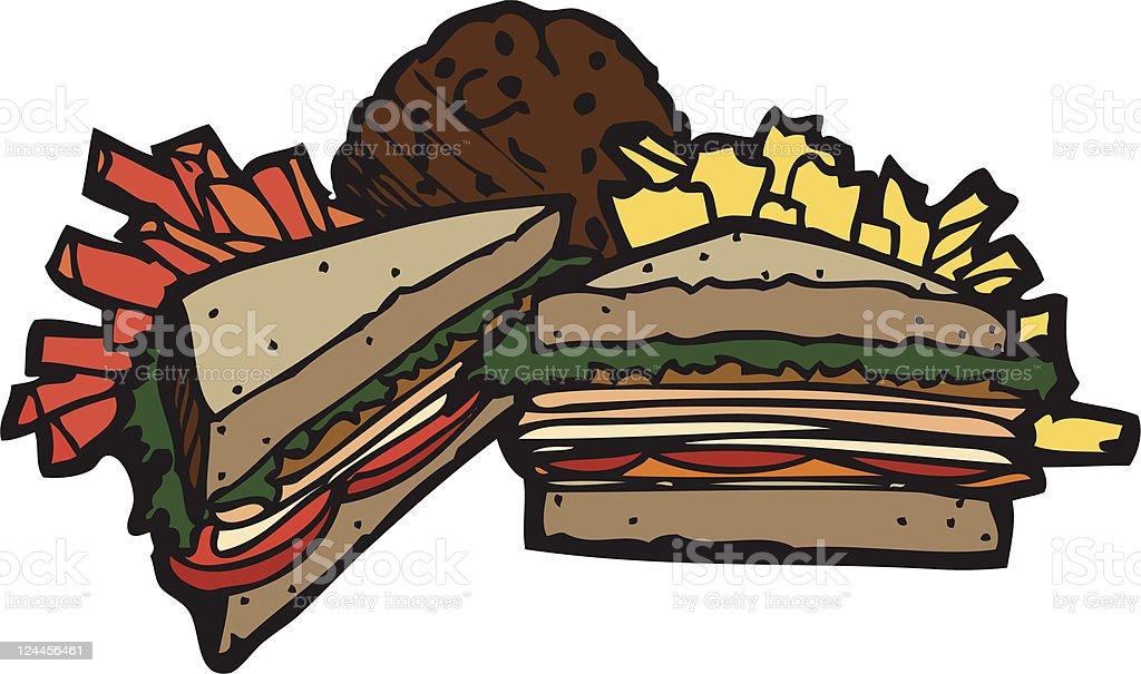 Deli Sandwich Meal royalty-free stock vector art