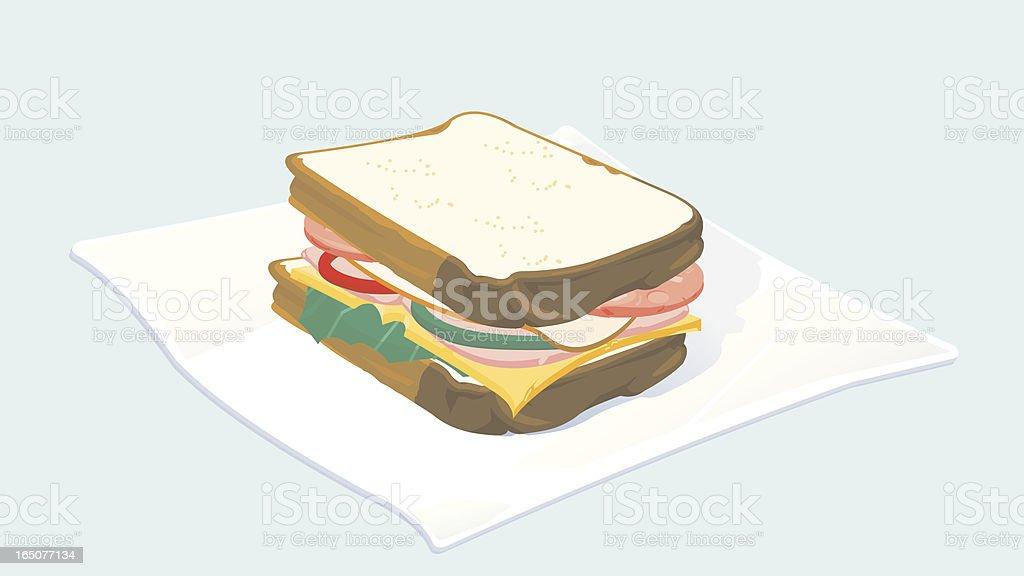 Deli Sandwich on Napkin royalty-free stock vector art