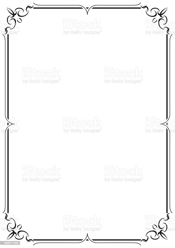 Delicate Black Lined Border On Cream Colored Paper stock vector – Lined Border Paper