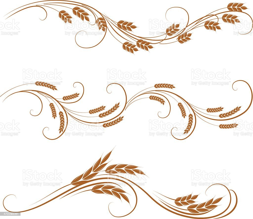 Delicate brown wheat decorative banners royalty-free stock vector art