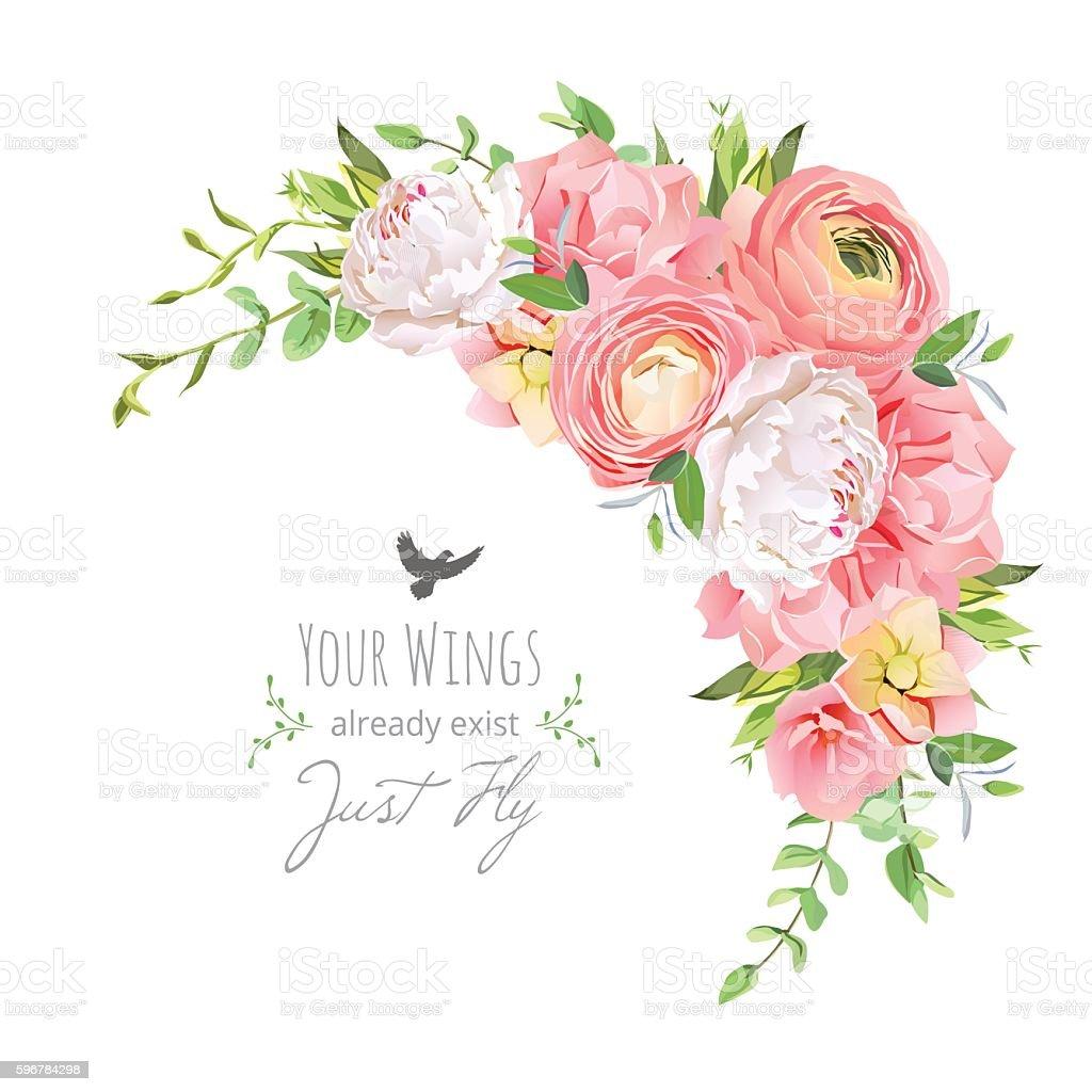 Delicate floral vector frame with ranunculus, peony, rose, carnation, vector art illustration