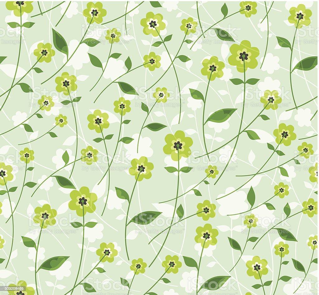 Delicate flowers. Green. vector art illustration