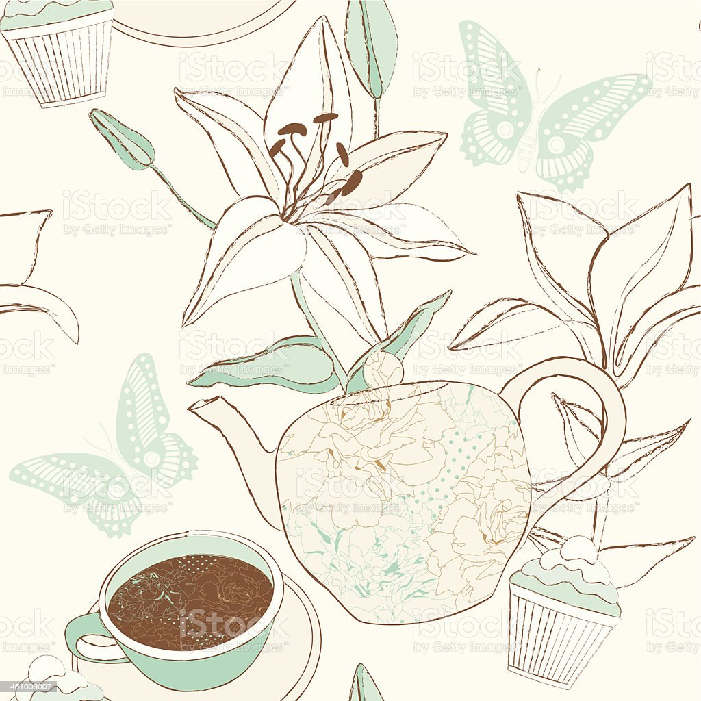 Delicate pattern with cup, teapot and lily flowers. royalty-free stock vector art