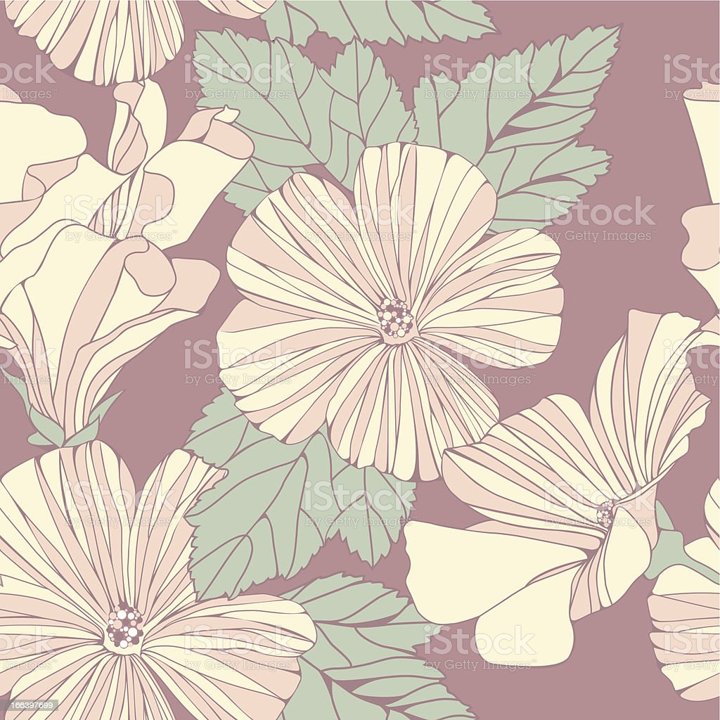Delicate pattern with pastel colored hibiscus flowers. royalty-free stock vector art