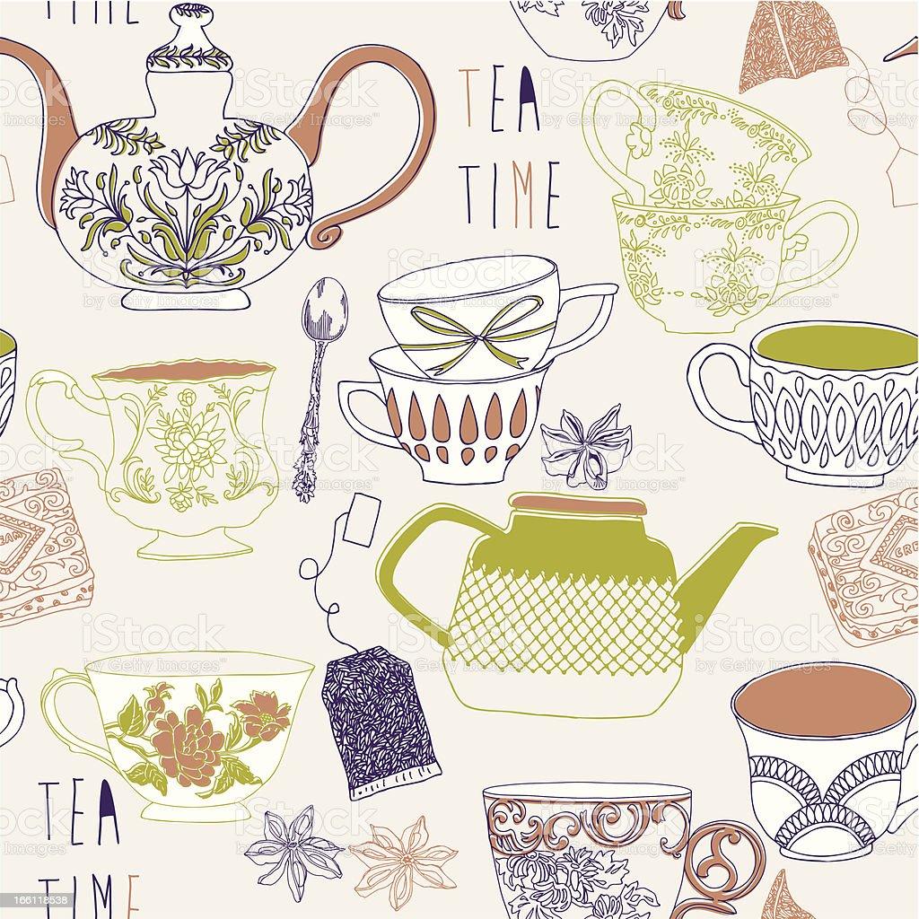 Delicate retro Tea Time seamless pattern vector art illustration