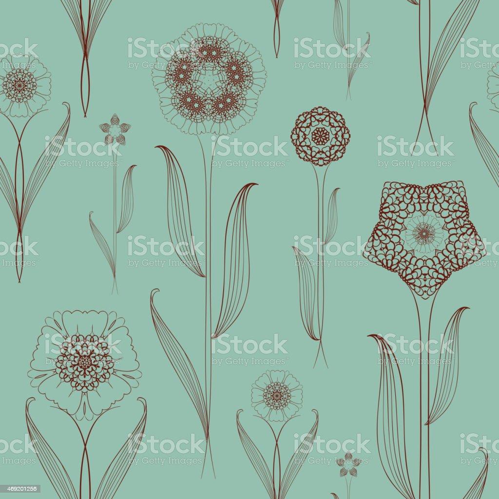 delicate seamless floral pattern background vector art illustration