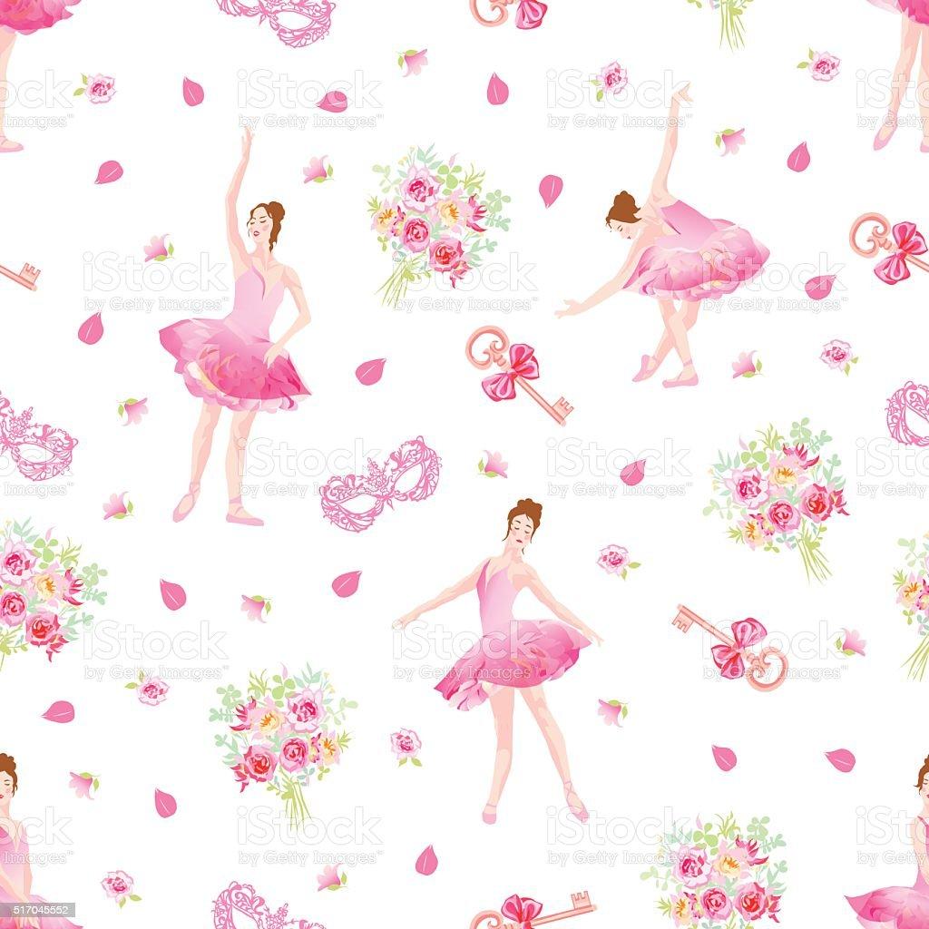 Delicate seamless vector pattern with ballerinas, keys, bows, masks, flowers vector art illustration