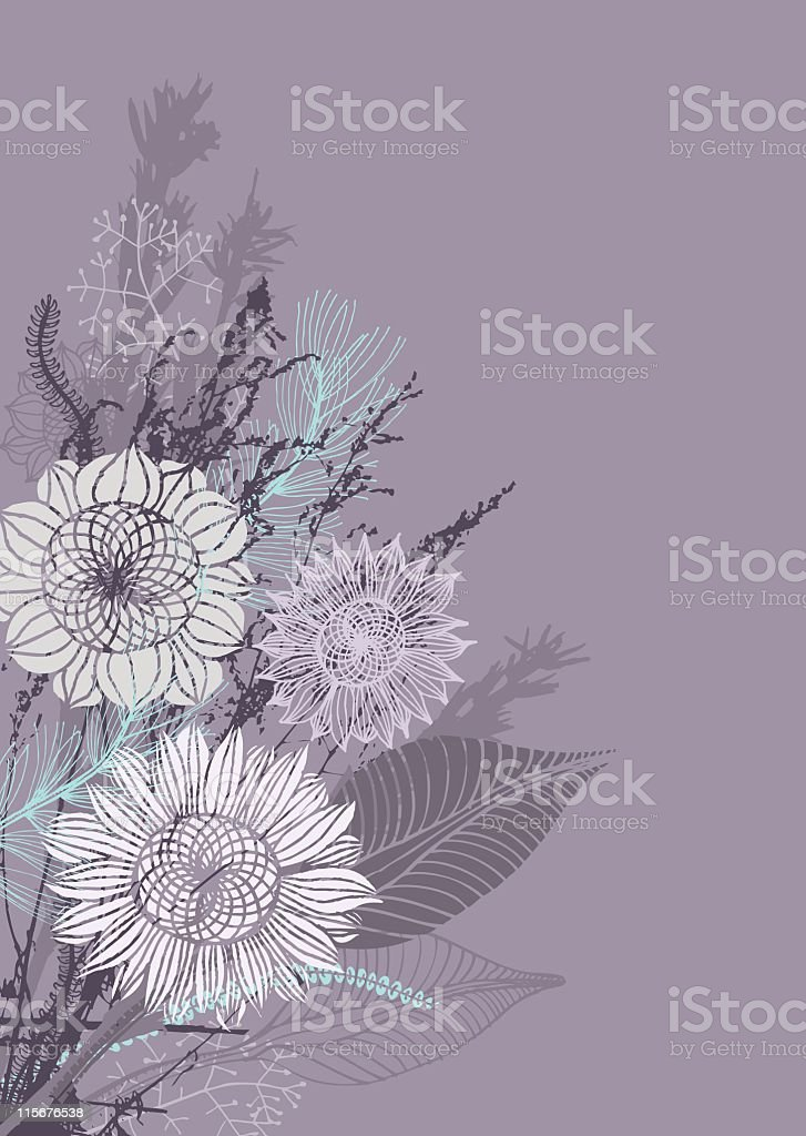 Delicate shades of purple floral themed background vector art illustration