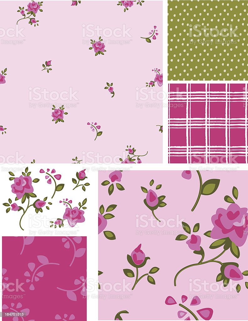 Delicate Vector Rose Flower Seamless Patterns and Elements. royalty-free stock vector art