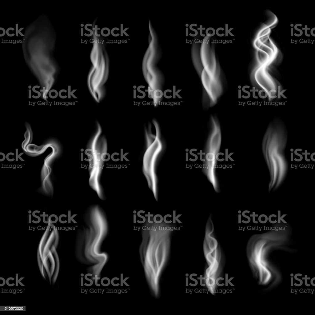 Delicate white cigarette smoke waves on transparent background vector illustration vector art illustration