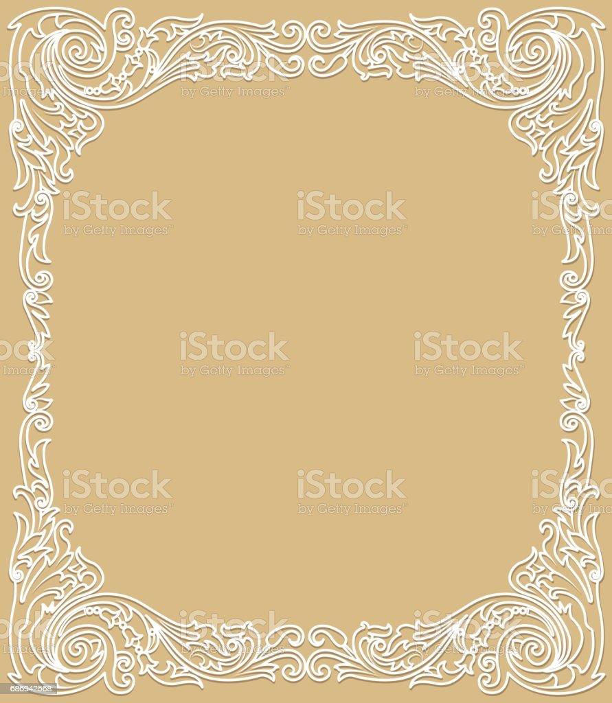 Delicate white frame vector art illustration