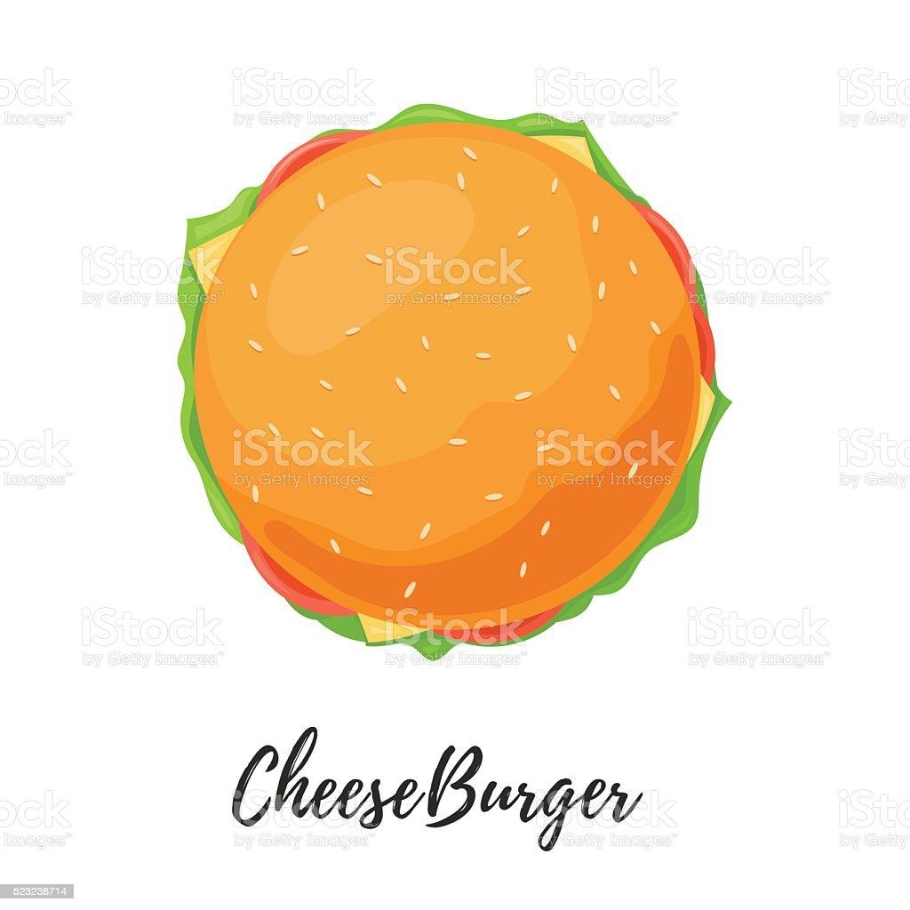 Delicious Burger closeup bun top view. Cheeseburger isolated vector art illustration
