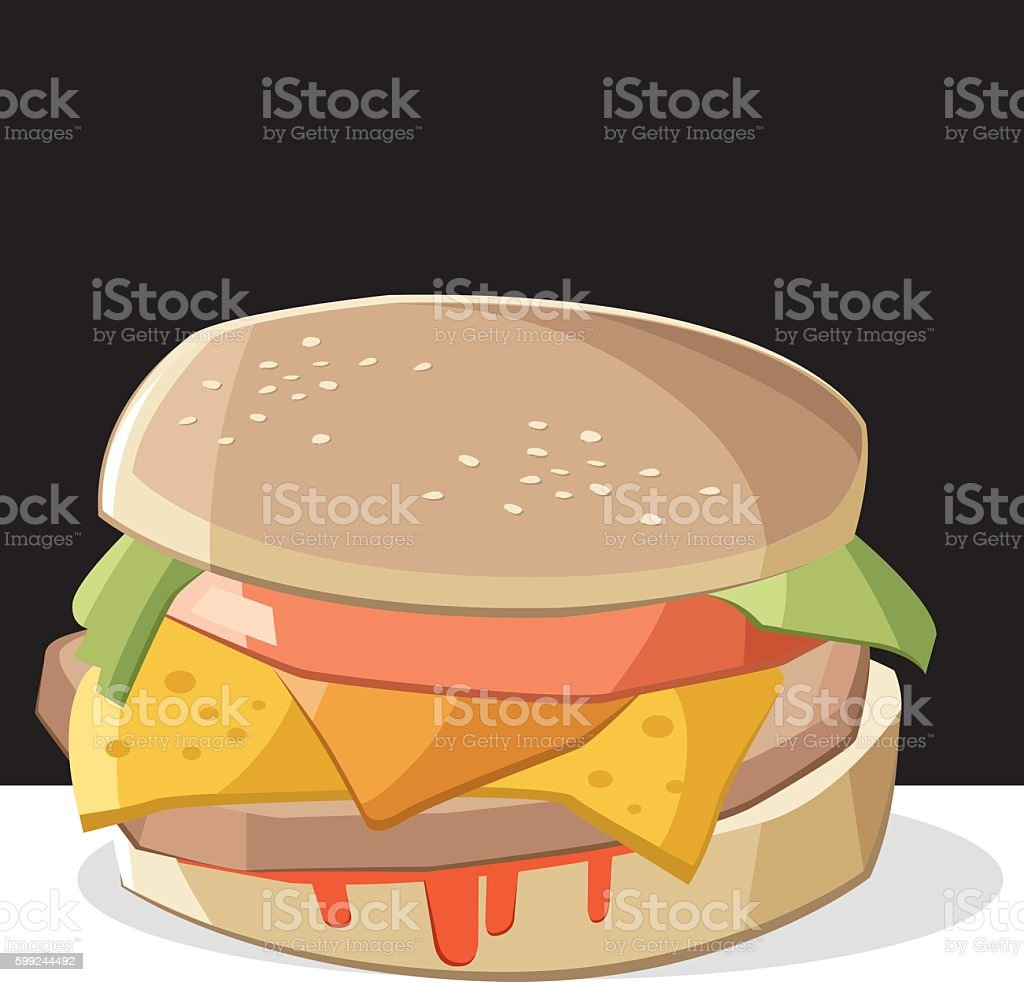 Delicious burger vector art illustration