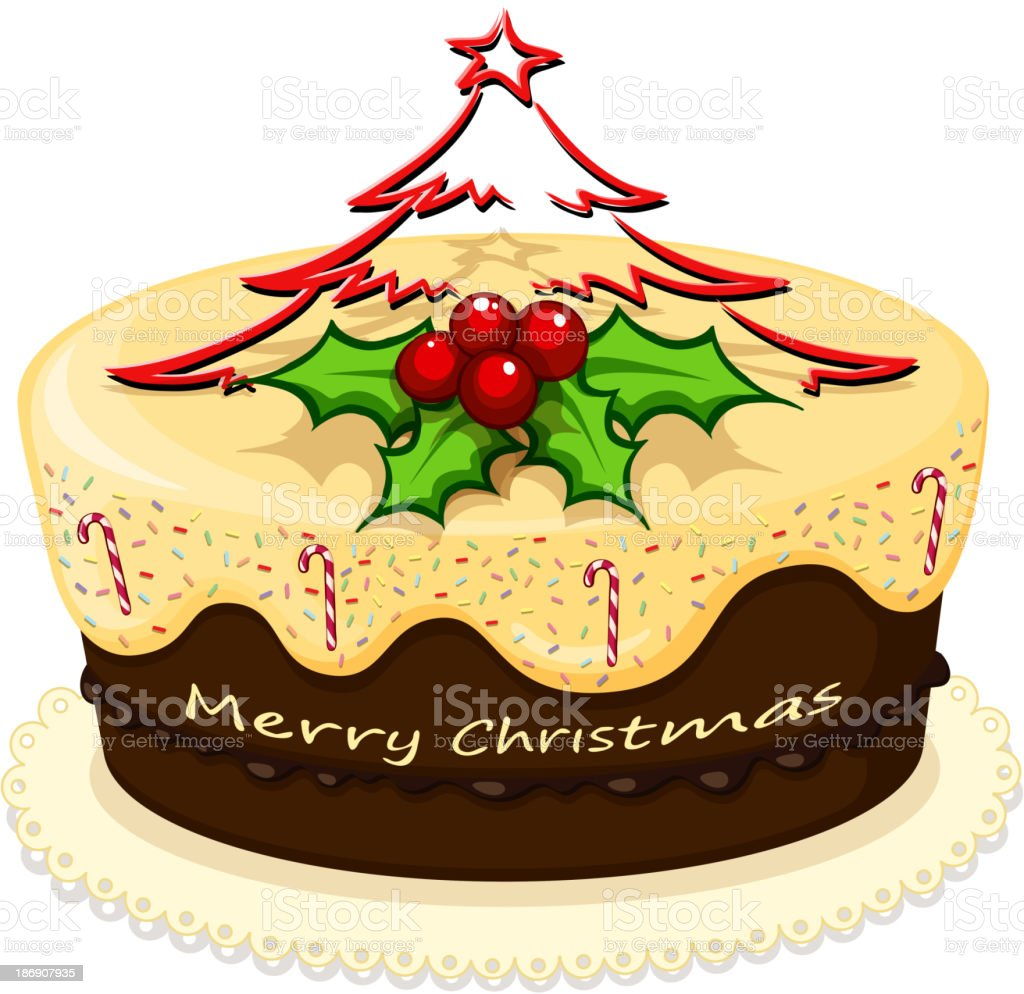 delicious cake for Christmas royalty-free stock vector art