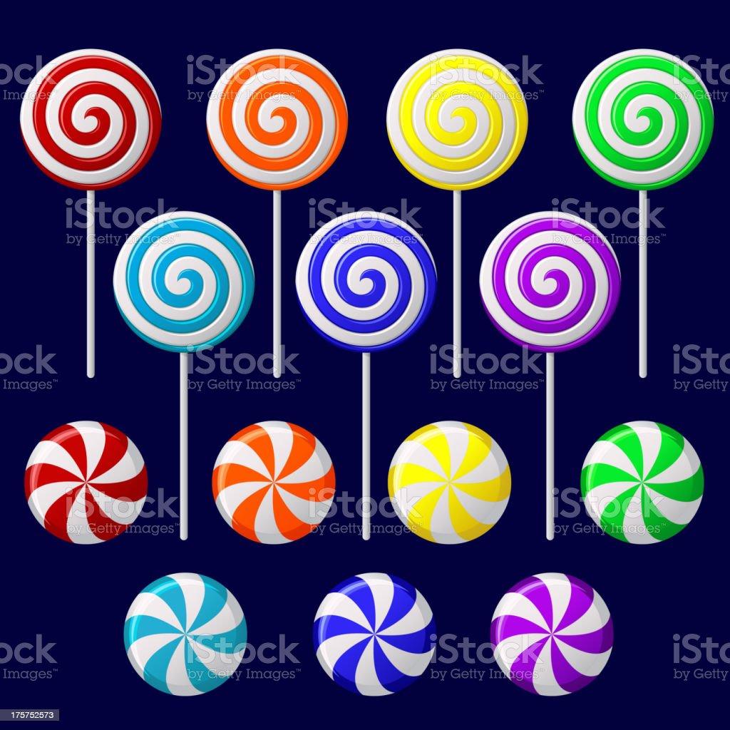 Delicious colorful lollipop collection vector art illustration