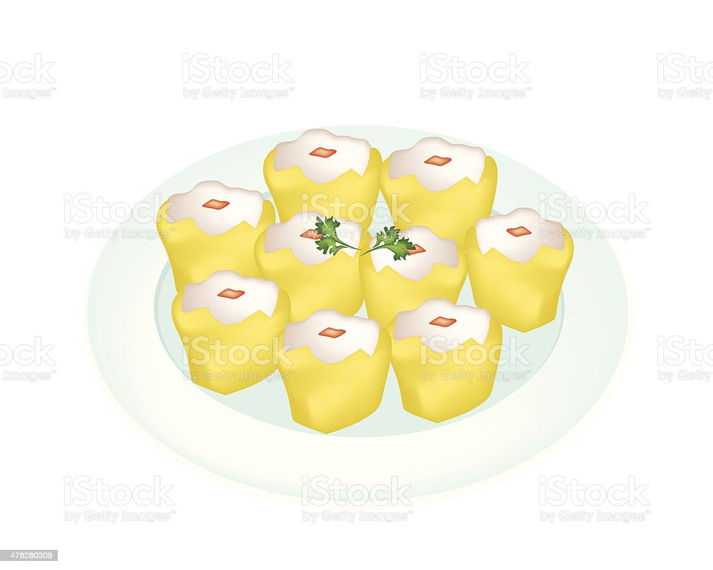 Delicious Dim Sum in A White Plate vector art illustration