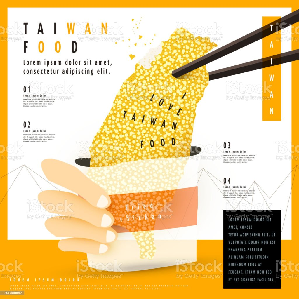 delicious fried chicken breast in Taiwan's shape vector art illustration