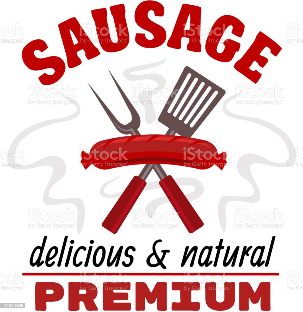 Delicious grilled sausage food label vector art illustration