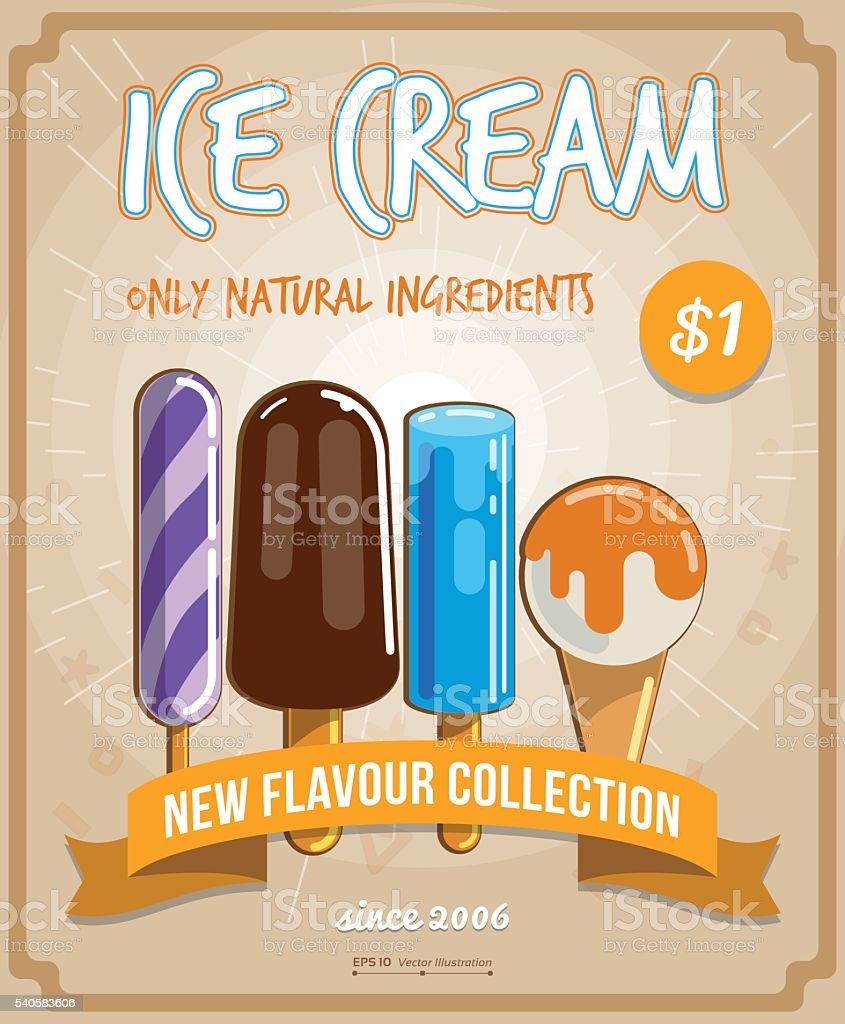 Poster design eps - Delicious Ice Cream Flyer Poster Design Eps 10 Illustration Royalty Free Stock