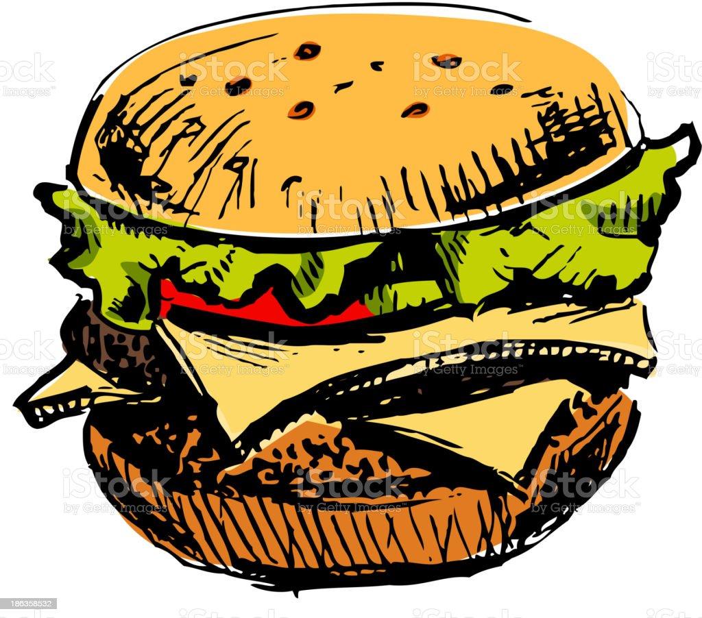 Delicious juicy burger royalty-free stock vector art