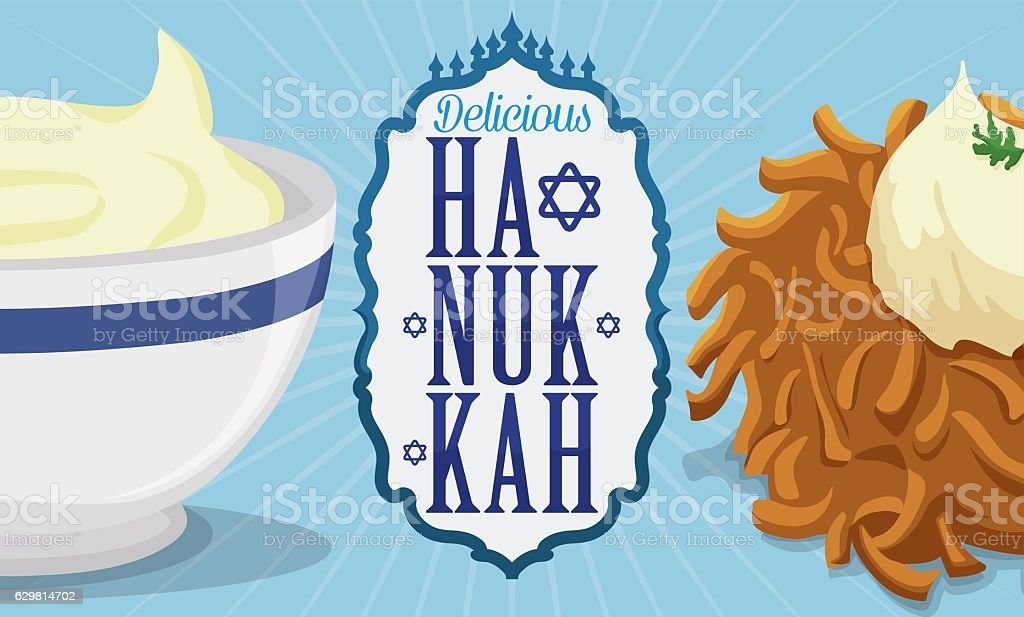 Delicious Latke and Sauce with Label Commemorating Hanukkah Traditions vector art illustration