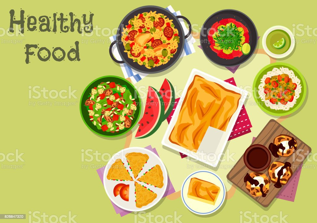 Delicious lunch icon for healthy food design vector art illustration