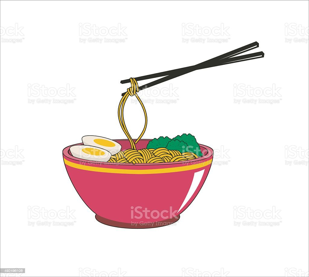 delicious noodle in bowl vector art illustration