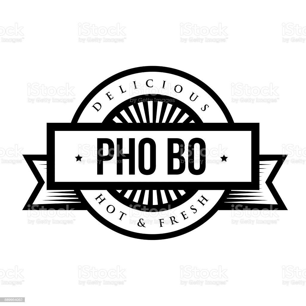 Delicious Pho Bo (Vietnamese soup) - Vintage stamp vector art illustration