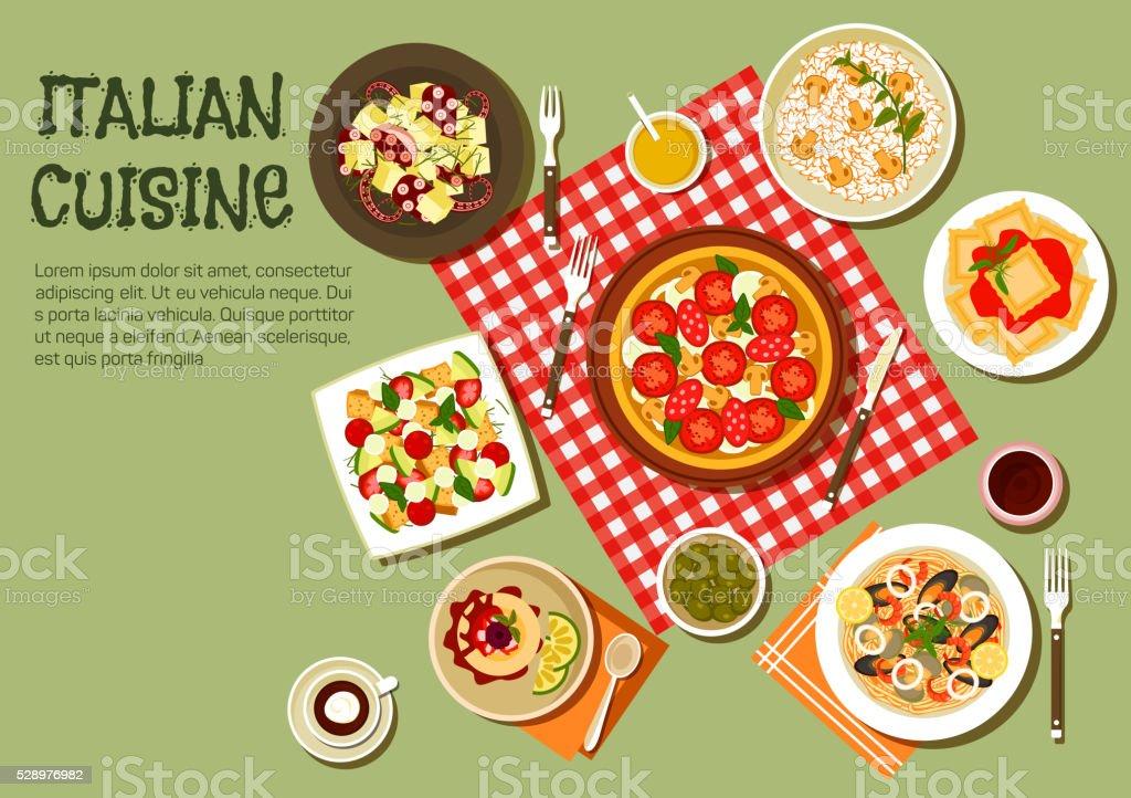 Delicious picnic dishes of italian cuisine icon vector art illustration
