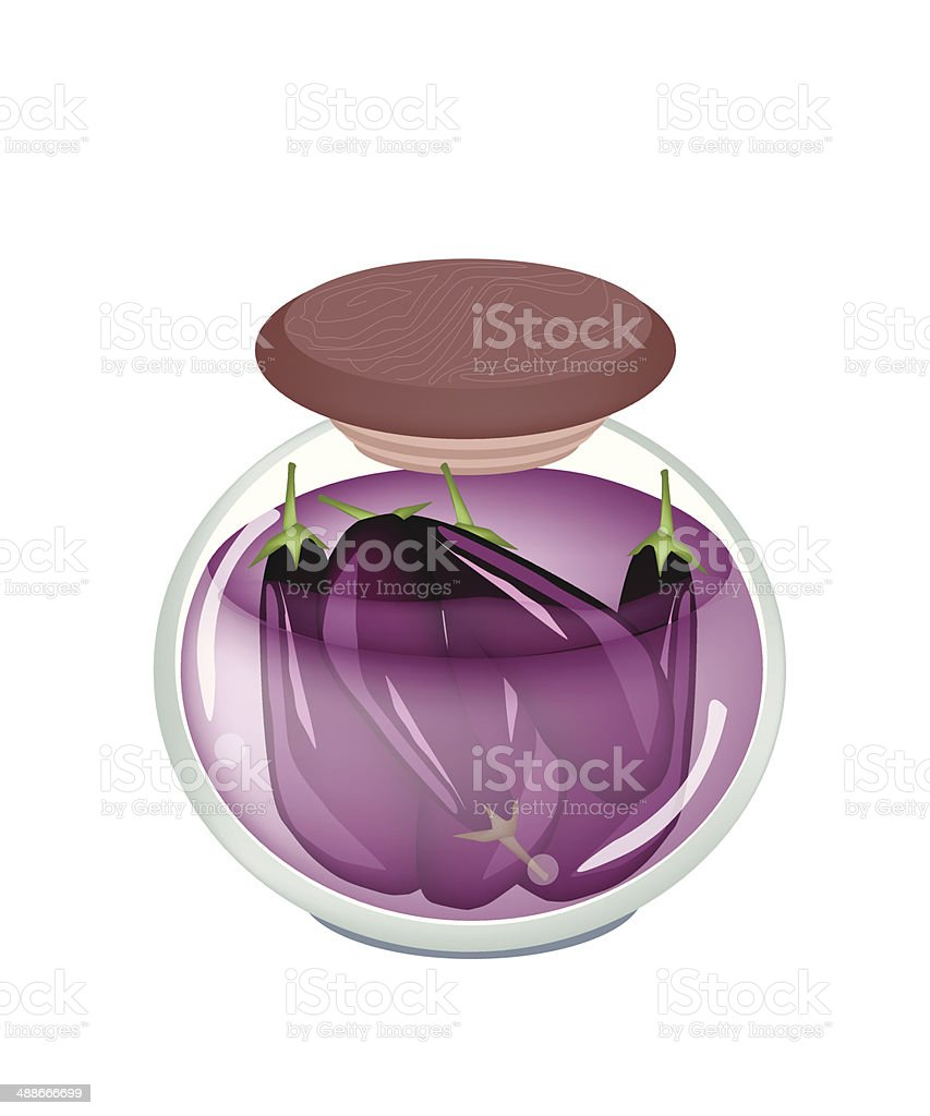 Delicious Pikled Purple Eggplant in A Jar vector art illustration
