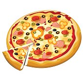 Delicious pizza with olives, ham and sweet pepper