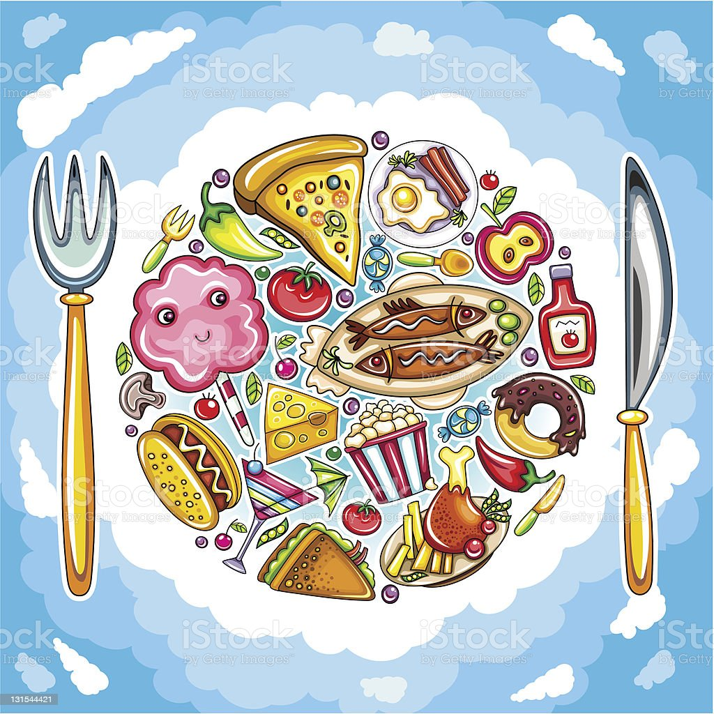 Delicious planet of cute food royalty-free stock vector art