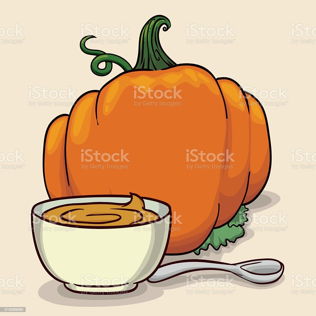 Delicious Pumpkin's Soup with Spoon Isolated vector art illustration