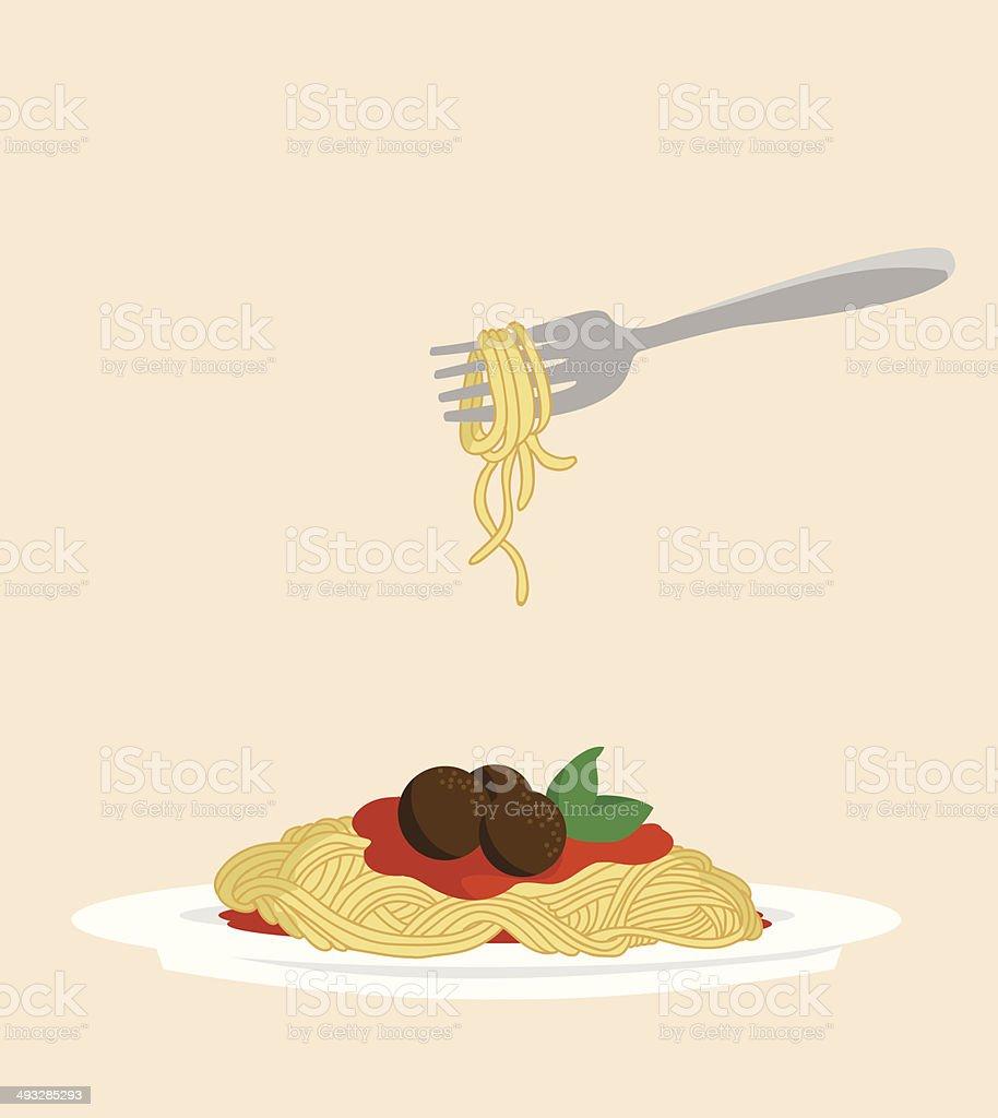 Delicious Spaghetti vector art illustration