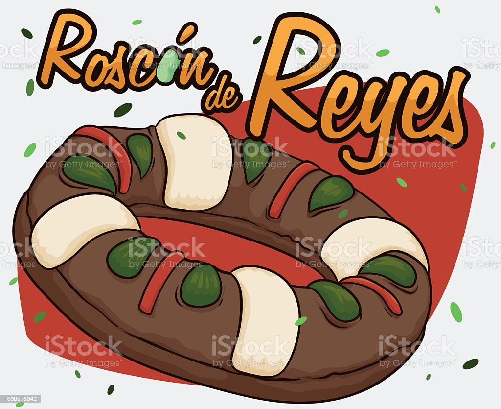 Delicious Spanish 'Roscon de Reyes' with Fava Bean for Epiphany vector art illustration