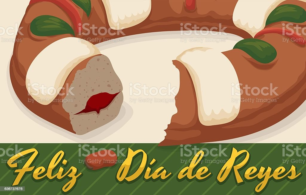 Delicious Spanish Tortell for Celebration of Three Kings' Day vector art illustration