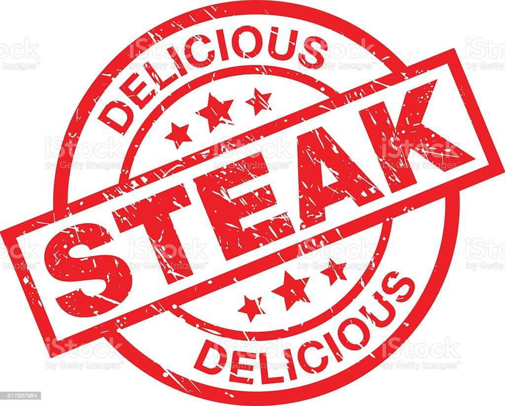 Delicious Steak Label vector art illustration