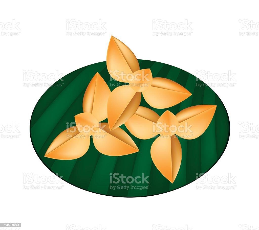 Delicious Thai Shortbread Cookies on Green Banana Leaf royalty-free stock vector art