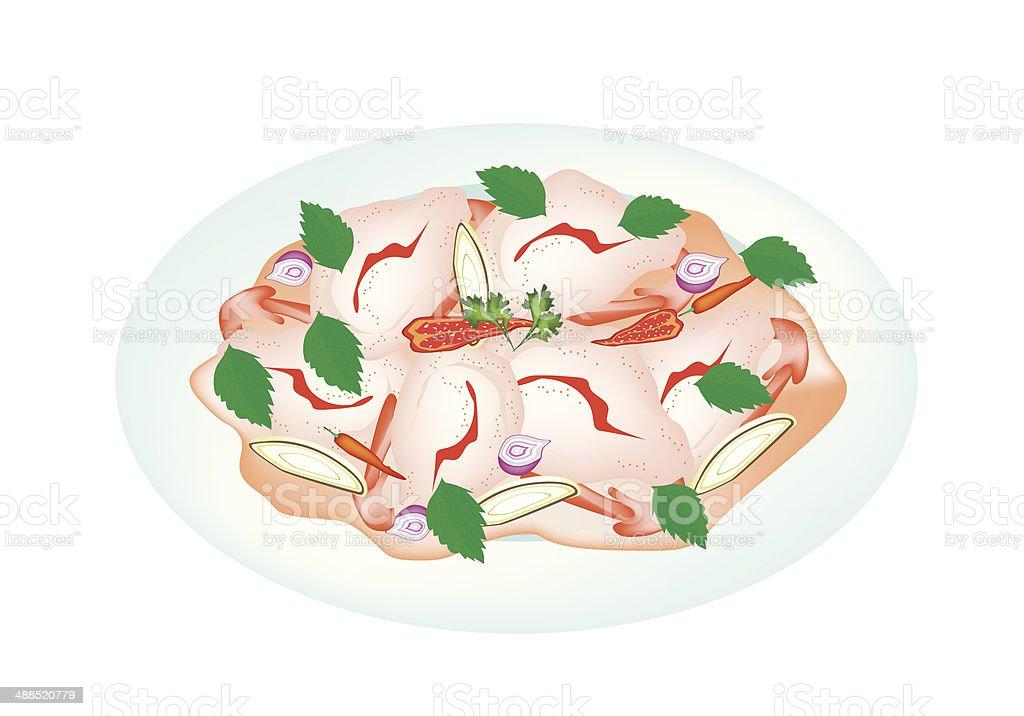 Delicious Thai Shrimp Salad on A Plate royalty-free stock vector art